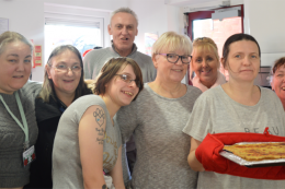 image of michelle carroll and friends at salford time bank cooking club